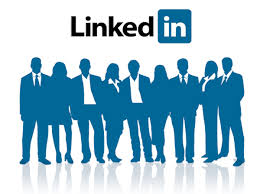 Drawing of a group of people with the LinkedIn logo above their heads