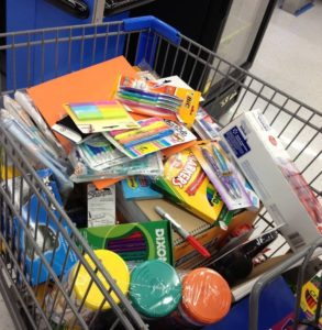 cart filled with school supplies