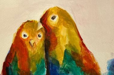 birds painting using acrylic paint